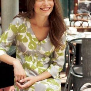 Boden 100% Silk Gingko Leaf Green Gray Dress
